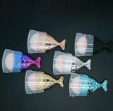 El cepillo rechoncho único de la fundación de los pescados se ruboriza conjunto de cepillo de encargo del maquillaje de la sirena de la escritura de la etiqueta del brillo