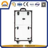 Spezieller verschließbarer Fach-Laufkatze-Kosmetik-Kasten mit Spiegel-Weiß (HB-4606)