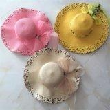 100% de paja sombrero de papel, estilo flojo de la manera con la cinta y la decoración del metal