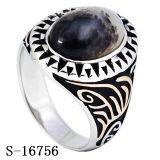 Modelli piacevoli 925 anelli d'argento degli uomini con la pietra naturale