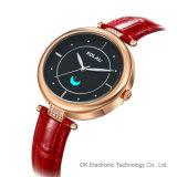 Customized Logo Stainless Steel Leather Quartz Watch Relógios de luxo para mulheres