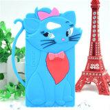 Caixa de decoração bonito do telefone do silicone do gato 3D de Tom