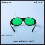 Transmittance de óculos de proteção da proteção dos vidros de segurança do laser/laser para lasers vermelhos, rubi de 30% (RHP-2 600-700nm) com frame 33