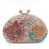 Últimas Moda Cat Crystal Ladies Evening Purse Clutch Bag Bolsas Leb731
