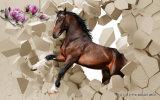 壁の現代装飾的な絵画をなくなっている3D馬は壁パネルで印刷した