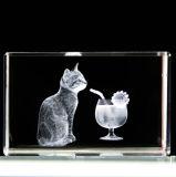 Gravação a laser 3D com cristal Animal Cube de recreio