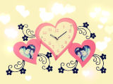 Pink Heart Shape Picture Mostrar reloj de pared para sala de estar