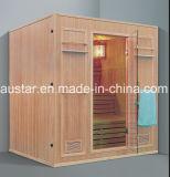 sauna di legno solido di rettangolo di 2000mm per 6 persone con il banco di doppio strato (AT-8650)