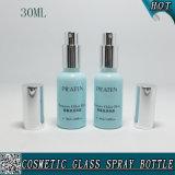 o frasco de vidro cosmético do pulverizador 30ml com Shinny o pulverizador de prata da névoa