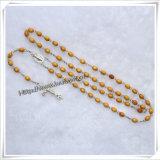 Perles en alliage de zinc rose avec croix de Jésus avec le chapelet Chaîne de mode Collier de perles de collier (IO-cr366)