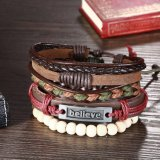Trenzados hechos a mano ajustables de la manera '' creen '' la pulsera de cuero de la cuerda