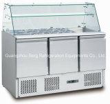 Mesa de preparación de ensalada de acero inoxidable Refrigerador de saladita