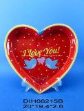 Piatto di ceramica Heart-Shaped con la decalcomania