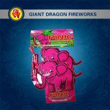 Fogos-de-artifício do brinquedo dos fogos-de-artifício do elefante cor-de-rosa