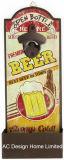 La birra speciale dell'annata antica progetta il metallo di figura e l'apri per il cliente di bottiglia di carta di legno della decalcomania