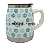 BPA Free Ceramic Coffee Cup with Stainless Steel Base (KD-109)