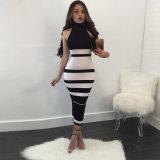 سيّدة [بندج] [درسّس] [لونغ] [درسّ] أسود بيضاء ضمادة ثوب ناد لباس ثوب مشدودة