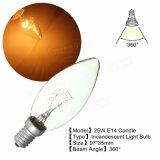 E14 15With25With40Wは白い型のエジソンの白熱蝋燭ライト電球AC220Vを暖める