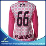 Luva longa do Lacrosse feito sob encomenda do Sublimation que ostenta Jersey