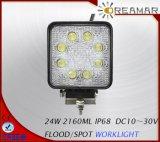 24W Pi68 2160lm Spot de inundación de luces LED de trabajo