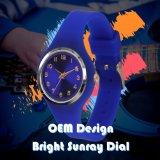 Vigilanza Analog del quarzo del silicone su ordinazione di marchio dell'OEM con la manopola Sunray luminosa