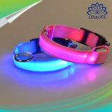 LED de nylon Pet Coleira Noite intermitente de segurança que brilha no escuro Produtos Coleira de cão