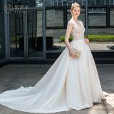 Satin bördelte eine Zeile elegante Hochzeits-Brautkleid
