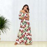 ポリエステル肩の花のBohoのバルク卸し売り夏のマキシの服浜の服