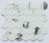 Mattonelle di mosaico di vetro bianche di Carrara di esagono del rifornimento della fabbrica per la parete