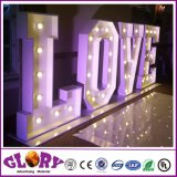 Grand signe de l'amour des lettres de l'ampoule pour la décoration de mariage