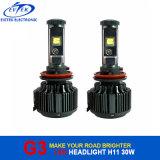 Farol do diodo emissor de luz do CREE de H11 3000lumens 30W 6000k G3 V16 Turbo para carros