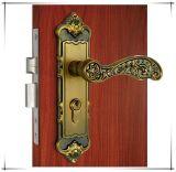 Mortise de bronze amarelo antigo Lockset da porta da porta com punho de alavanca
