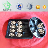 Frozen Food Packaging Beg Black Round Plastic Oyster Tray with Compartments
