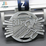 Medaglia corrente di maratona su ordinazione in lega di zinco antica dell'argento 30km