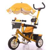 Bicicleta de três crianças das rodas de EVA com guarda-chuva