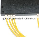 1*4 divisor em forma de caixa do PLC da fibra óptica do ABS 3.0mm com conetores de Sc/Upc