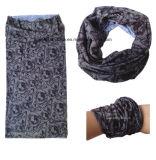 De naar maat gemaakte Embleem Afgedrukte Bleekgele Sjaal van Microfiber van de Polyester Promotie Multifunctionele