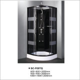 Casa de la cabina de la ducha del vapor con el aluminio negro