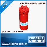 64mm/76mm/89mm/102 mm de rosca Button Bits para perfuração de bancadas