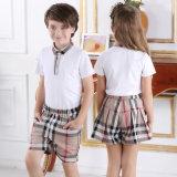 Pantalon court et chemise de plaid d'école de prix usine de coton