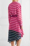 2017 mulheres novas de Arrvial listraram a venda por atacado Chiffon de seda cor-de-rosa do vestido