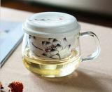 Tazza di ceramica incisa di vetro di Borosilicate della tazza di caffè dell'ufficio del filtro dal fiore