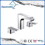 Due rubinetto di lavabo d'ottone del foro di modo tre dell'acqua della maniglia (AF0032-6)