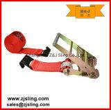 """4 """"x 40 'Red W / ganchos planos de carga de la correa de trinquete"""