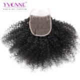 Цвет закрытия йБ шнурка человеческих волос 4X4 девственницы Kinky скручиваемости Afro Yvonne бразильский