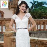 Сбор винограда приспосабливать & Flare безрукавный платье венчания шнурка шеи v
