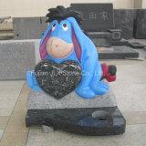 Headstones blu del bambino della scultura di Eeyore del granito della perla