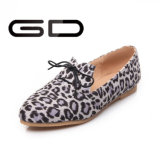 Шнурка печатание леопарда повелительниц ботинки классицистического плоские для женщин