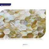 装飾の壁のための贅沢なデザイン黄色のリップのモップのシェルの真珠色のモザイク