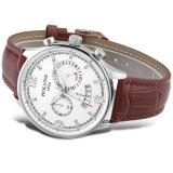 Relógios especiais impermeáveis dos homens do esporte do grande negócio Multifunction de couro ocasional do relógio de Mens de quartzo do seletor